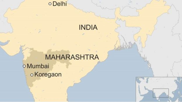 A map of Bhima Koregaon village in Maharashtra