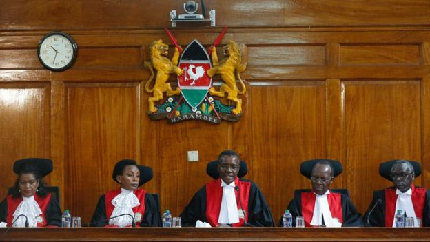Five of seven of Kenya Supreme Court judges (L-R) Njoki Ndungu, Deputy Chief Justice Philomena Mwilu, Chief Justice David Maraga, Jackton Ojwang and Isaac Lenaola 20/09/2017