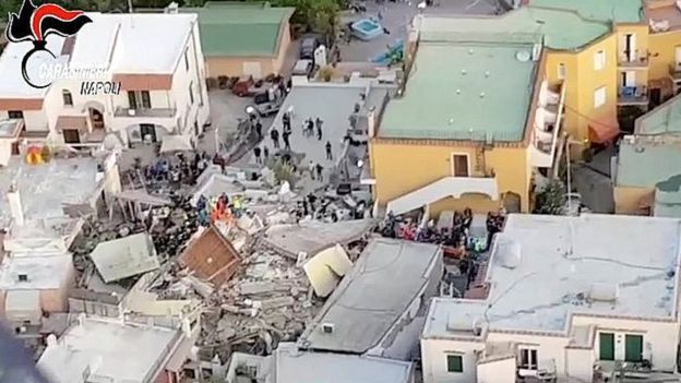 Aerial view of damage on Ischia, 22 August 2017