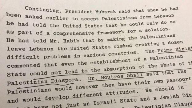 وثائق سرية بريطانية: مبارك قبل طلب أمريكا توطين فلسطينيين بمصر مقابل إطار لتسوية شاملة للصراع مع إسرائيل _98990396_8a18ff81-96be-4ef2-b388-0884f4ea61b2
