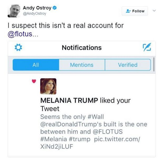 A tweet showing Melania Trump's account liking the tweet