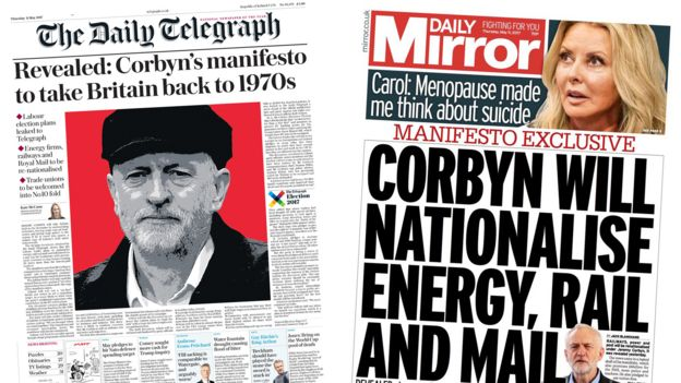 Telegraph/Mirror front pages