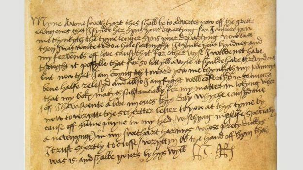 Una carta de Enrique VIII a Ana Bolena