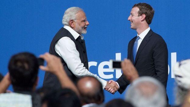 Mark Zuckerberg recibe al primer ministro de India, Narendra Modi