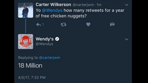 Intercambio de mensajes entre Carter Wilkerson y Wendy's