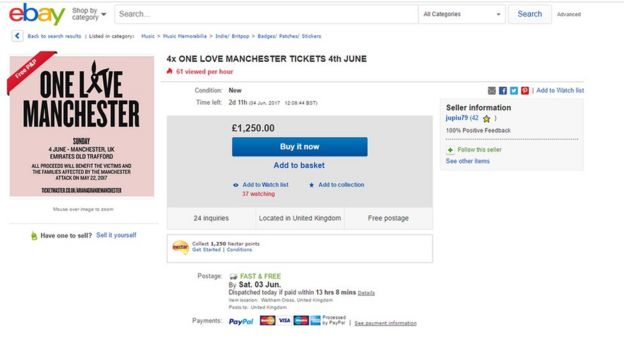 eBay auction of One Love Manchester tickets