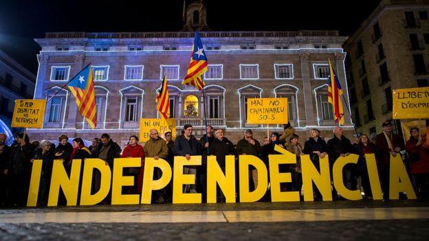 Митинг в поддержку независимости Каталонии