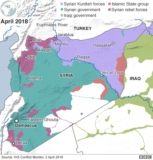 Syria War Trump Persuaded Not To Pull Out Immediately BBC News - Map Of The Us In The Civil War