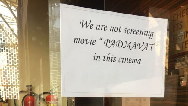A sign in a Gujarat cinema saying that it is not screening Padmaavat