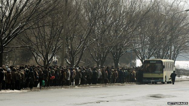 Bus queue in North Korea
