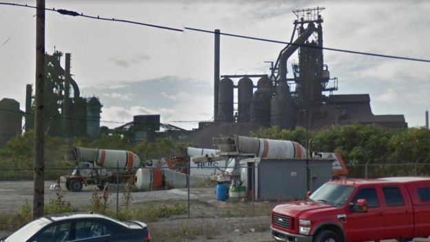 The blast furnaces of US Steel on Zug Island Photo: Google Street View