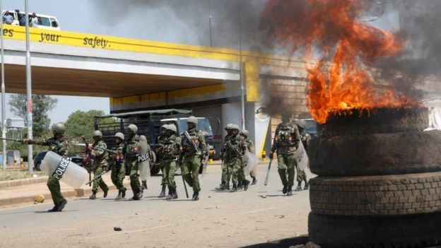 Riot policemen arrive to disperse supporters of opposition leader Raila Odinga, after their political leader claimed