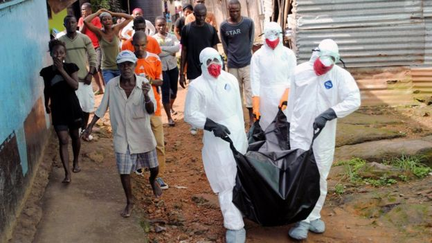An Ebola victim in Monrovia