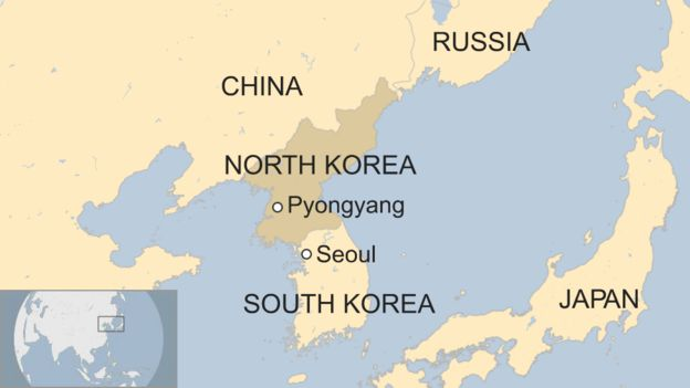 map of South Korea and North Korea