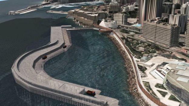 """مخطط لموقع بناء المشروع الضخم """"بورتيير كوف"""""""