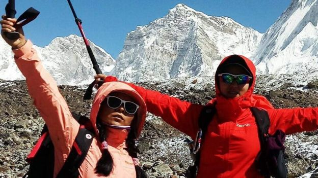 Women climbers near Mount Pumori at the Everest region