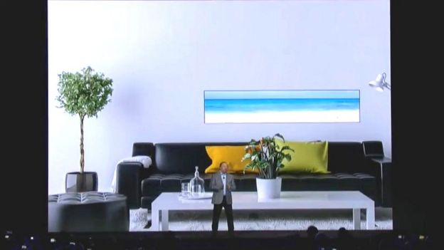 Samsung modular TV in an elongated rectangular format