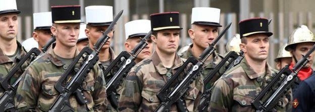 French soldiers at ceremony, 25 Apr 17