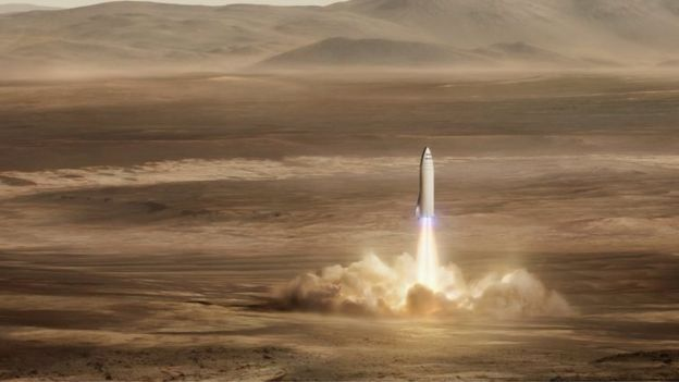 Una ilustración de un cohete de Space X