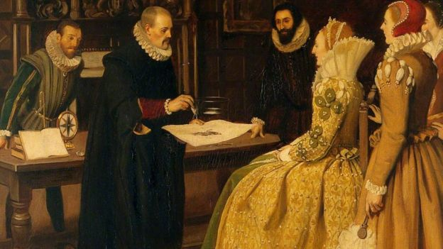 William Gilbert haciendo una demostración con un imán para la reina Isabel I.