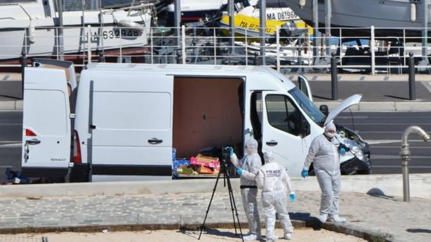 The van is inspected by forensic experts