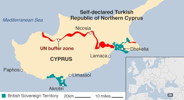 Cyprus Peace Deal Close Says UN Chief After Geneva Talks BBC News - Northern cyprus map