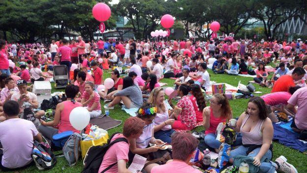 2015年新加坡粉紅點(Pink Dot)挺同志集會參加者。