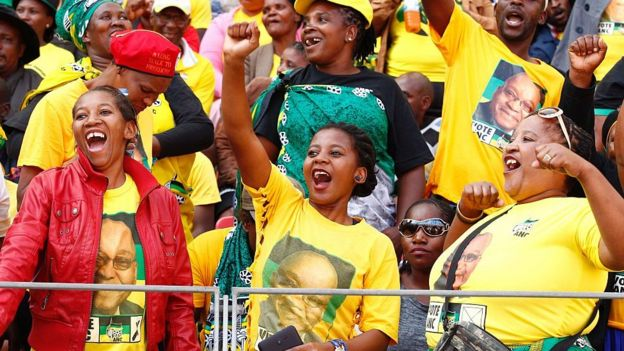 South African ruling party African National Congress (ANC)'s supporters cheer during the Party official launch of the Municipal Elections manifesto on April 16, 2016 in Port Elizabeth, South Africa.