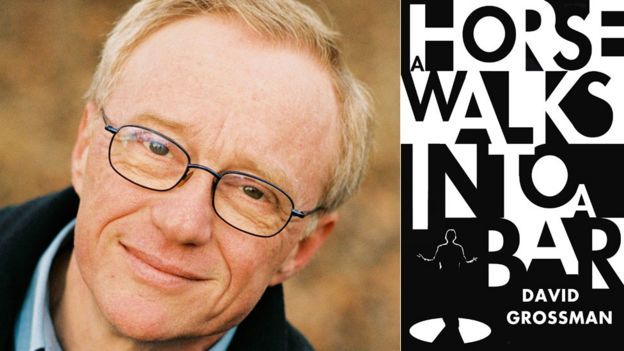 David Grossman and the jacket for A Horse Walks Into a Bar