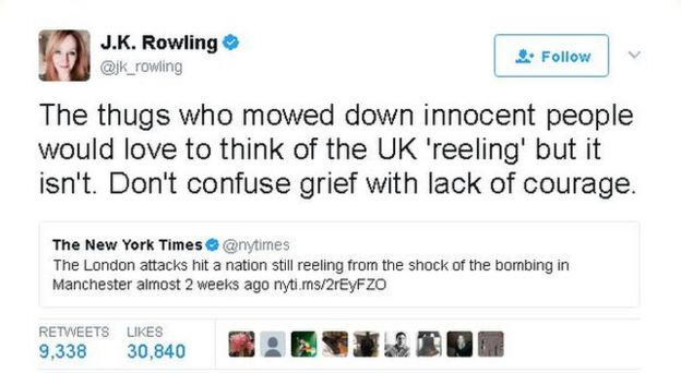 JK Rowling tweet says the UK is not 'reeling' - Don't confuse grief with lack of courage she says.