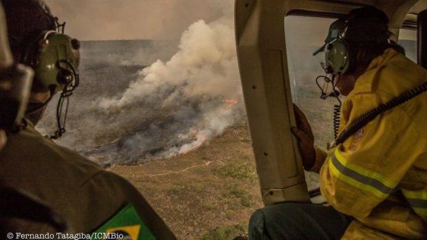 Homens observam área devastada por incêndio