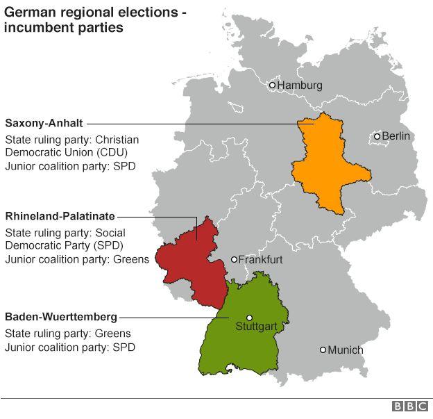Angela Merkels CDU suffers German state election setbacks BBC News – Map of German States