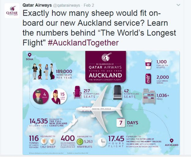 Statistics from Qatar's flight between Doha and Auckland