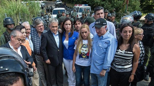 Lilian Tintori junto al expresidente colombiano Andrés Pastrana, Sebastián Piñera, expresidente chileno, María Corina Machado, líder de la oposición venezolana y el alcalde de Caracas, Antonio Ledezma en 2015, afuera de la prisión Ramo Verde, donde estaba López.