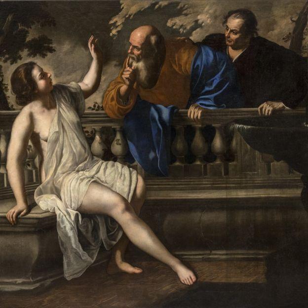 """""""Susanna e i vecchioni"""" (Susana y los viejos), de Artemisia Gentileschi, de 1652. Óleo sobre lienzo (200.3 x 225.6 cm)."""