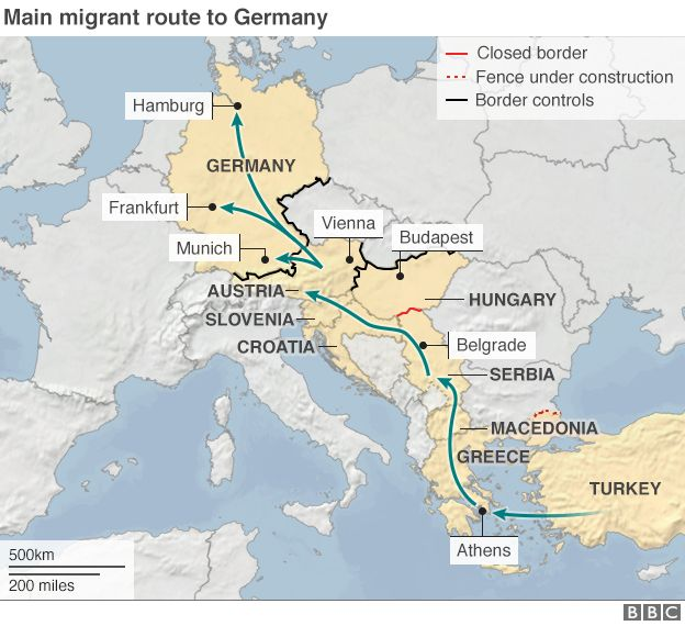Map showing main migrant route north from Turkey to Germany