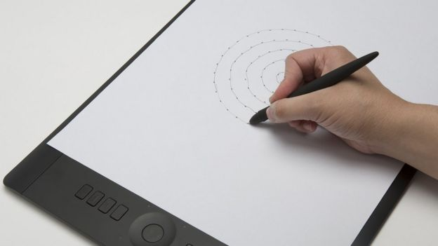 The tablet can measure writing speed and the pen measures pressure on the page