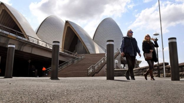 Couple walk past bollards at Sydney opera house