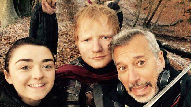 Ed Sheeran with Maisie Williams and Jeremy Podeswa