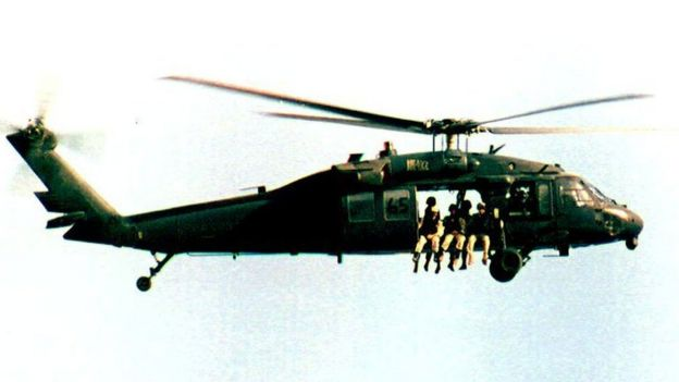 Black Hawk Helicopter flying over Mogadishu