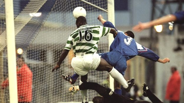 Oliver Tebily scores for Celtic against Cwmbran in a 1999 Uefa Cup match