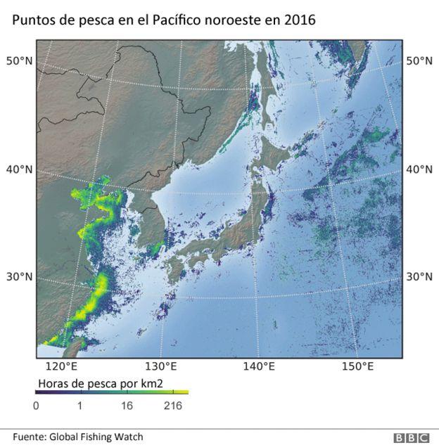Mapa de calor de la pesca en Asia noroccidental