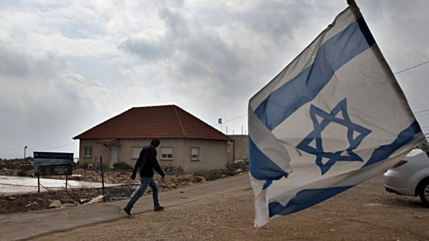 Hombre pasando frente a bandera de Israel en asentamiento.