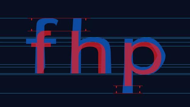 """Al hacer que las barras verticales sigan en letras más largas, se reduce la posibilidad de que los disléxicos los confundan. Aquí el ejemplo de las letras """"f"""", """"h"""" y """"p""""."""