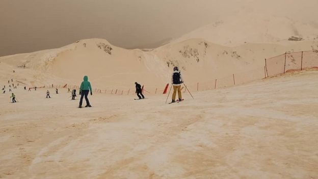 Skiers in the Russian Caucasus