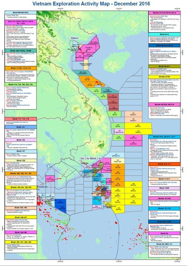 Bản đồ các lô khai thác dầu khí của Việt Nam