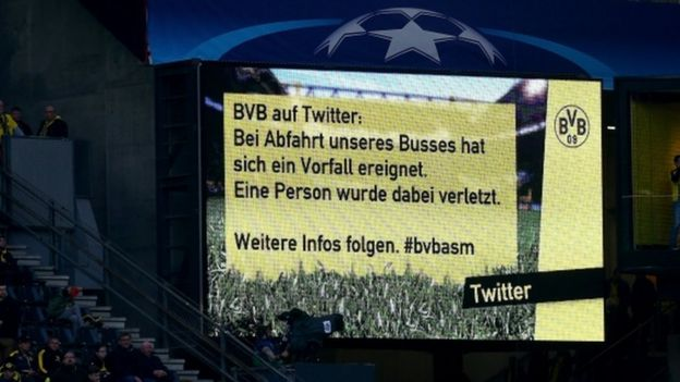 A message at Dortmund's Signal Iduna Park told fans about the bus explosion