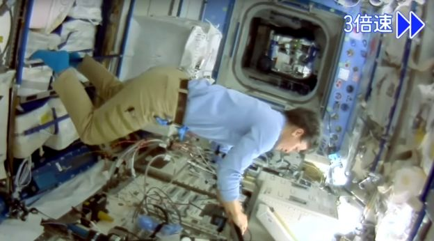 Astronaut at work captured by Int-Ball