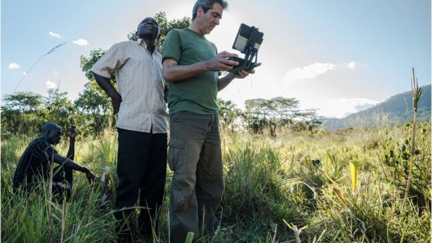 Conservationist, Serge Wich tests out his system in South Africa