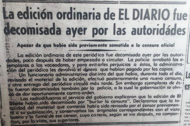 Edición de El Diario censurado